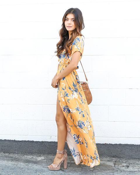 Autumn Bardot Maxi Dress - Mustard