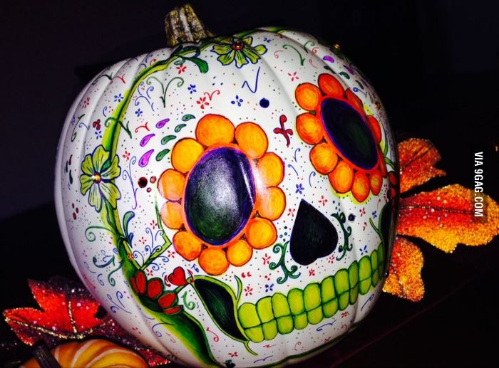 Asked my GF to paint a pumpkin for me like a 'Dia de los Muertos' sugar skull. Was not disappointed.