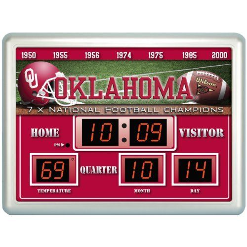 Oklahoma Sooners Scoreboard by Team Sports America. $84.95. The Scoreboards and their up to date logos and designs are a unique addition for the home, office or patio. Made of plastic, glass, and circuitry. Always know the score with our exclusive, licensed Outdoor Scoreboard featuring your favorite team. Our weather resistant Scoreboard shows the time, date and temperature. NCAA Oklahoma Sooners Scoreboard