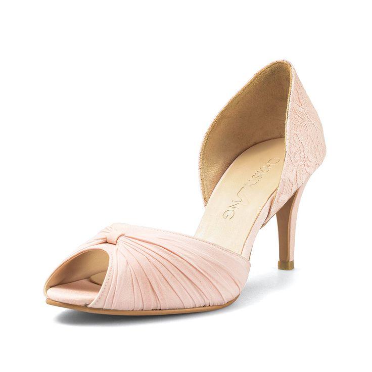 Jasmine Custom Made Nude Lace Heels Peach Wedding Shoe Blush Bridal Peep Toe