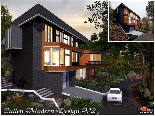 Cullen Modern Design V2 House By Autaki Sims 3 Downloads Cc Caboodle Sims House Sims 2 House Twilight House