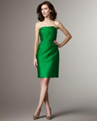 Emerald green strapless cocktail dress