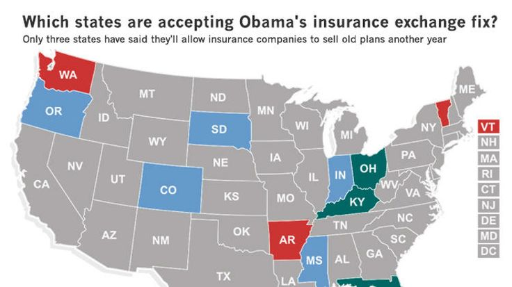States react to Obama's insurance 'fix' green are states that accepted