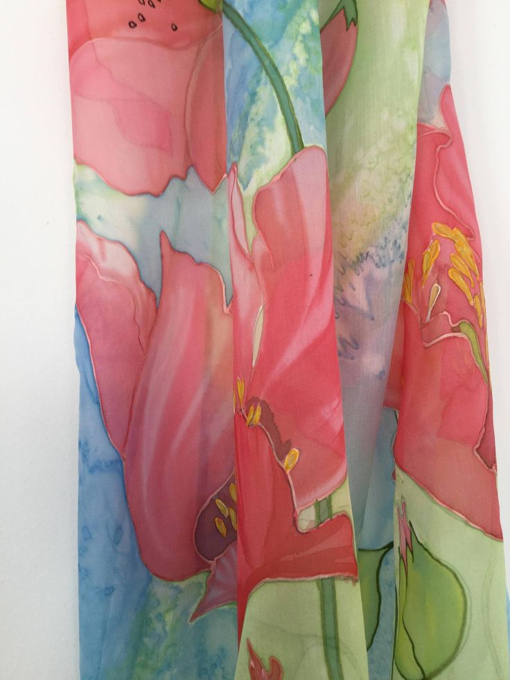 Stylish Poppy silk scarf Hand painted  silk chiffon 21/90 inch chic and elegant winter accessory 100%silk .Find more of my work here-https://www.etsy.com/listing/569003014/stylish-poppy