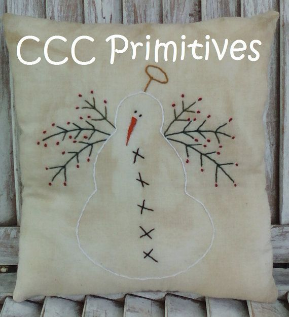 Embroidered Snow Angel Pillow Handmade Snowman By CCCPrimitives 2400 Christmas Cushion CoversChristmas