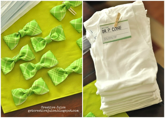 Ask that each child wear a plain white tee and provide them with a bow tie and name badge