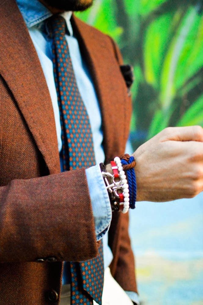 The Bespoke Dudes Wearing the handcrafted San Torpe Bracelets. Shop these stylish accessories at WWW.FINAEST.COM | #finaest #style #bespoke #tie #santorpe #bracelet #dapper #thebespokedudes #fabioattanasio #accessory #elegance