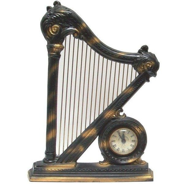 Electric Figural Harp Mantel Clock ($550) ❤ liked on Polyvore featuring home, home decor, clocks, black home decor, black mantel clock, black mantle clock, black clock and black figurines