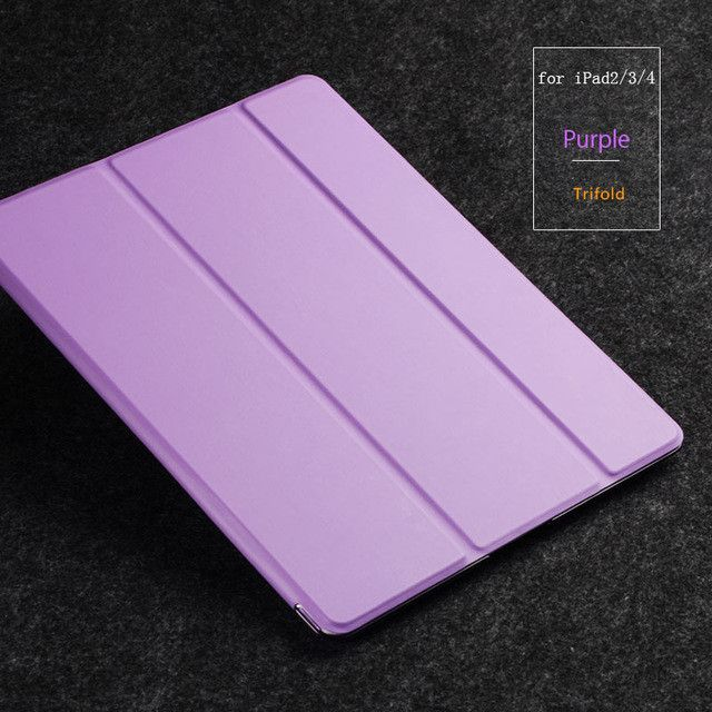 For Apple iPad4 Case PU Transparent Back Ultra Slim Light Weight Trifold ZOYU Smart Tablet PU Cover for iPad 23 for ipad 4 case