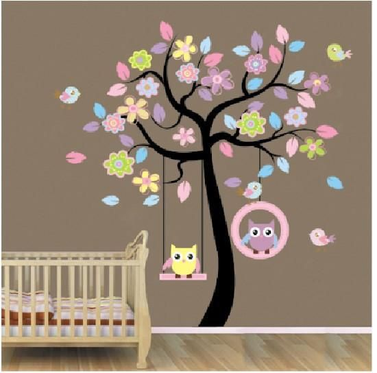 Pink tree swing owl children's room adornment wall stickers