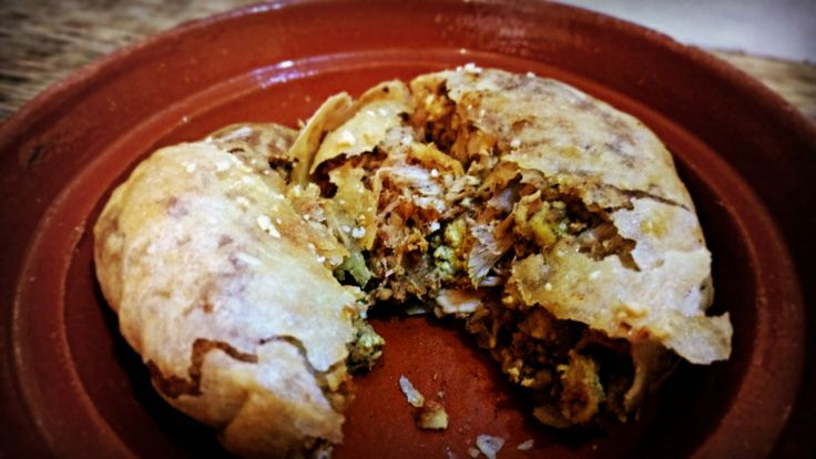 Bstila - a sweet savory favorite wrapped in Moroccan phyllo dough.