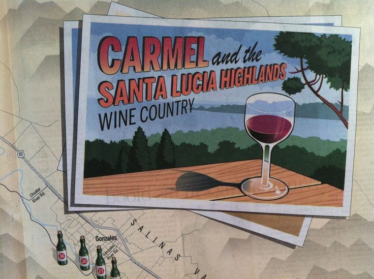 Very fun, downloadable map for the Carmel-by-the-Sea, Carmel Valley and Santa Lucia Highlands wine tasting rooms, wineries & vineyards. Print it, stash it in the glove box!