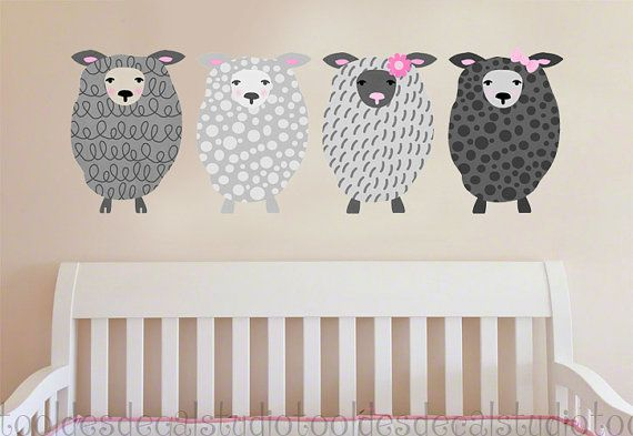 Sheep Fabric Wall Decal for Girls  Reusable by ToodlesDecalStudio