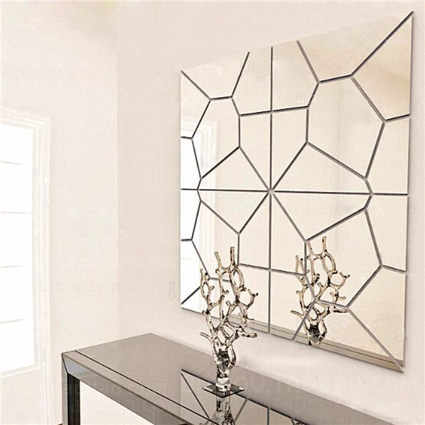 7Pcs 20cm DIY Geometry Mirror Wall Sticker Removable Pattern Mural Decal Art Home Decor