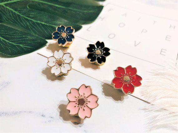 Sakura Enamel Pin Pin Cherry Blossom Pin Japanese Flower Enamel Pin Cute Pin Hat Pin Enamel Pin Creative Pin Flower Handmade Pins Pin Collection Enamel Pins