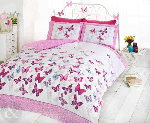 Girls Butterfly Bedding - Reversible Polka Dot Cotton Bed Set