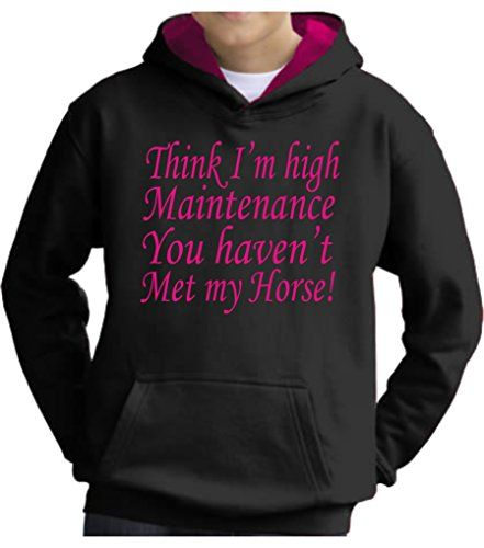 TWO TONE Jet Black/Hot Pink Hoodie 'THINK I'M HIGH MAINTENANCE YOU HAVEN'T MET MY HORSE' with Hot Pink Print.