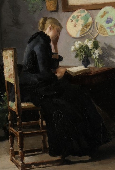 Atelier Interiør/Interior studio, detail. Kitty Kielland. Norwegian Realist Painter (1843 - 1914). Kielland's paintings were typified by her use of the realistically conceived subject manner and by an unsentimental approach.