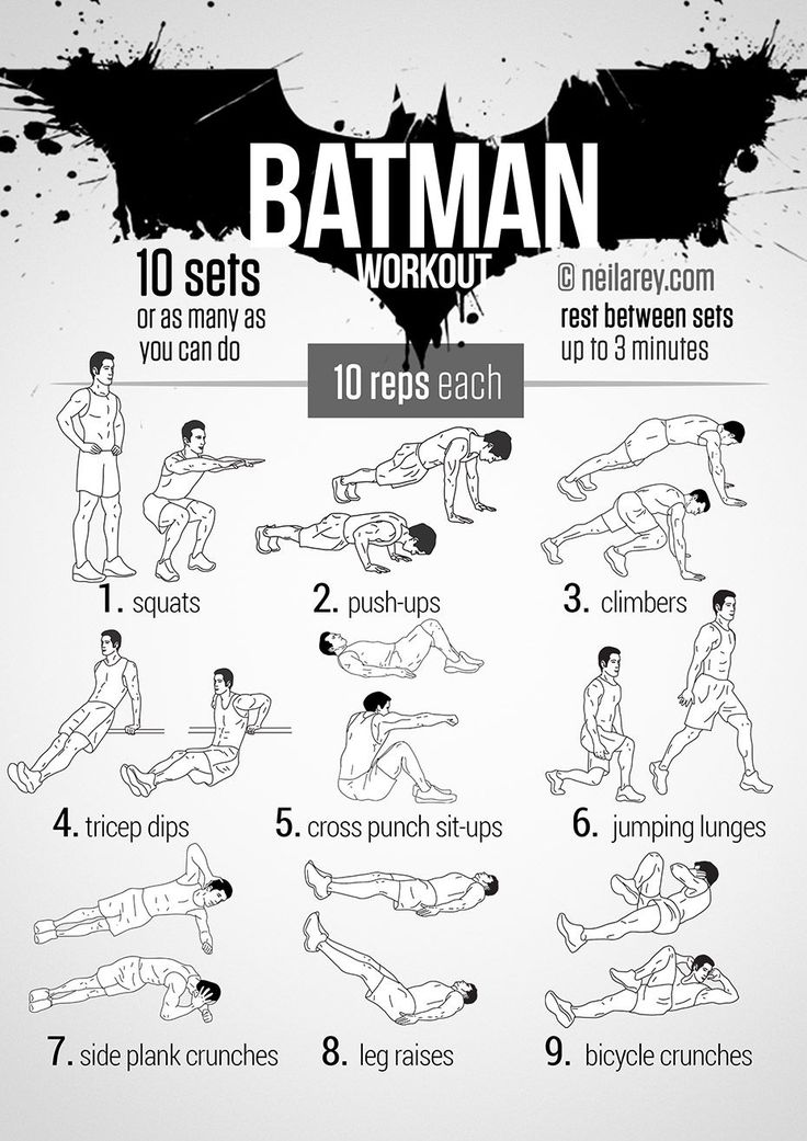 Batman Workout! Works: Quads, triceps, biceps, chest, shoulders, lower abs, lateral abs, glutes, upper abs, aerobic system, cardiovascular system More