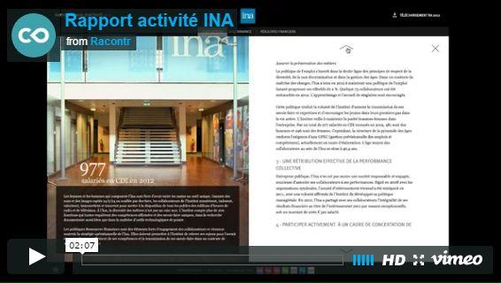 Rapport annuel d'activité de l'INA. Sur une création de l'agence Textuel La Mine, nous avons réalisé l'intégration sur Racontr du rapport annuel d'activité de l'INA.  Un exemple des possibilités corporate autour de l'interactivité et de la vidéo. #INA #Vidéo #Interactive #Racontr