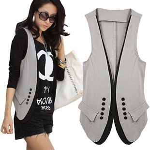 euro 14.50incl shipping 2013 new spring and summer women's fashion patchwork vest suit lovers slim vest double breasted-inVests & Waistcoats from Apparel & Accessor...