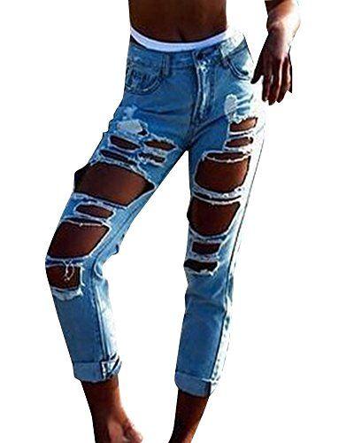 ZhuiKun Femme Boyfriend Jeans Déchirés Trous Denim Pantalons Slim Pants Bleu  Ciel L 45fb6d76384