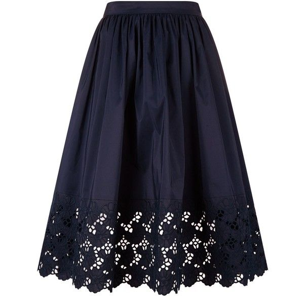 Lanvin Floral Lace Hem Skirt (5,595 PEN) ❤ liked on Polyvore featuring skirts, floral a line skirt, a-line skirts, summer skirts, blue lace skirt and long floral skirts