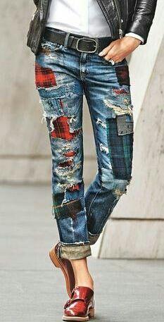 denim w/plaid patches