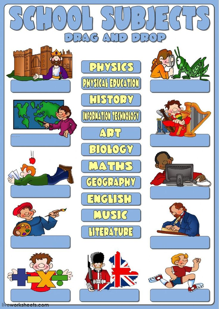 School subjects interactive and downloadable worksheet