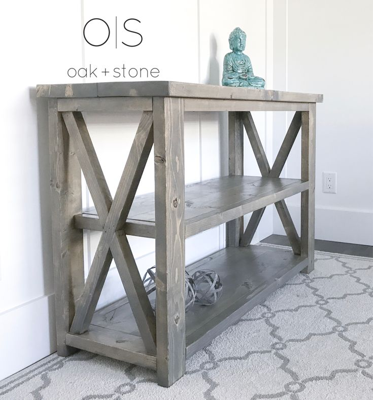 Classic X Console with our exclusive Beachwood Stain  #beachwoodstain #anawhitexconsole #xconsole #rusticconsole