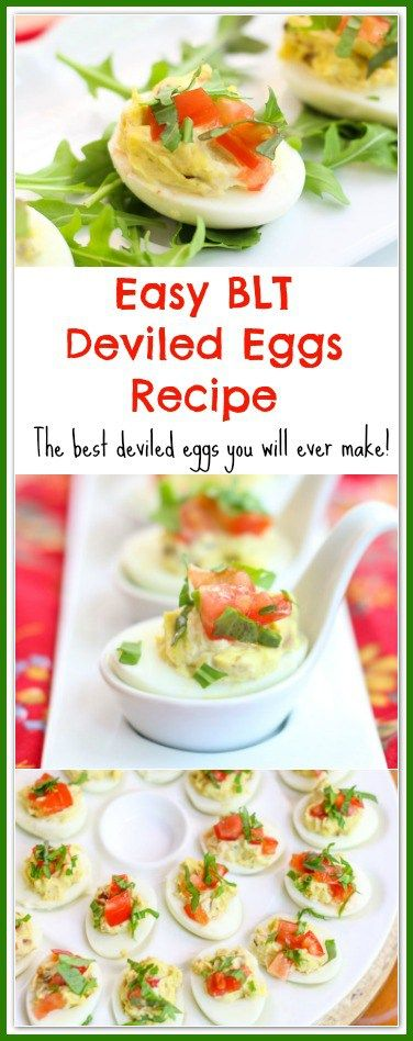 """This Easy BLT Deviled Eggs Recipe is wicked good. In fact, they will be the best deviled eggs you will ever make! They make a beautiful appetizer for a dinner and/or an """"eggscellent"""" side dish for a cookout, barbecue, and family gathering. Watch out! These little deviled eggs disappear fast and people will beg for the recipe."""