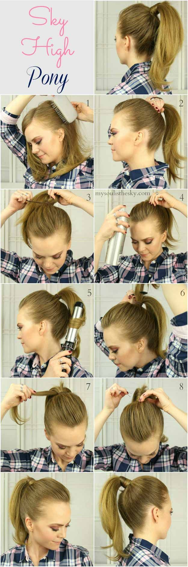 Best 5 Minute Hairstyles - High Ponytail Hack - Quick And Easy Hairstyles and Haircuts For Long Hair, That Are Super Simple and Great For Busy Mornings Or For School. Braids, Undo's, Ponytail Looks And Hair Styles For Short Hair, Medium Length Hair, And Long Hair. Step By Step Tutorials, Tips, And Hacks For Teens, For Kids, And For Wet And Dry Hair. Great Looks For Curls, Simple And Cute Braids With Half Up Half Down Hairstyles. Five Minute Looks For Church, For Shoulder Length Hair, For…