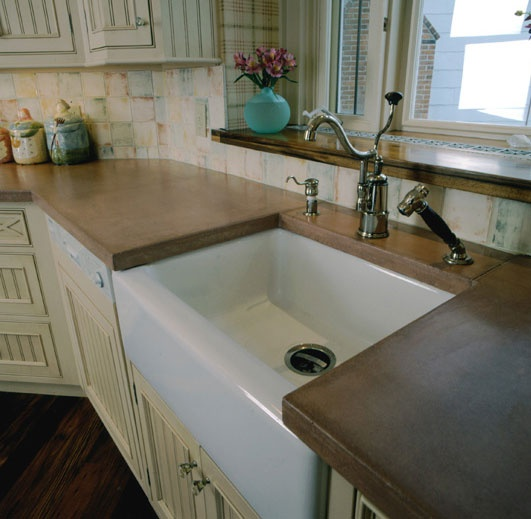 Farm Style Sinks For Kitchen: Concrete Counter Tops And Farmhouse Style Sink