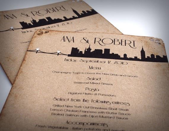 NYC Skyline Menu Cards Wedding Brown Love by ShannaMicheleDesigns, $1.55