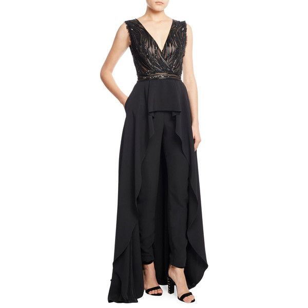 Zuhair Murad Sleeveless Skirted Jumpsuit with Embellished Bodice featuring polyvore, women's fashion, clothing, jumpsuits, black, tailored jumpsuit, zipper jumpsuit, embroidered jumpsuit, jump suit and sequin jump suit