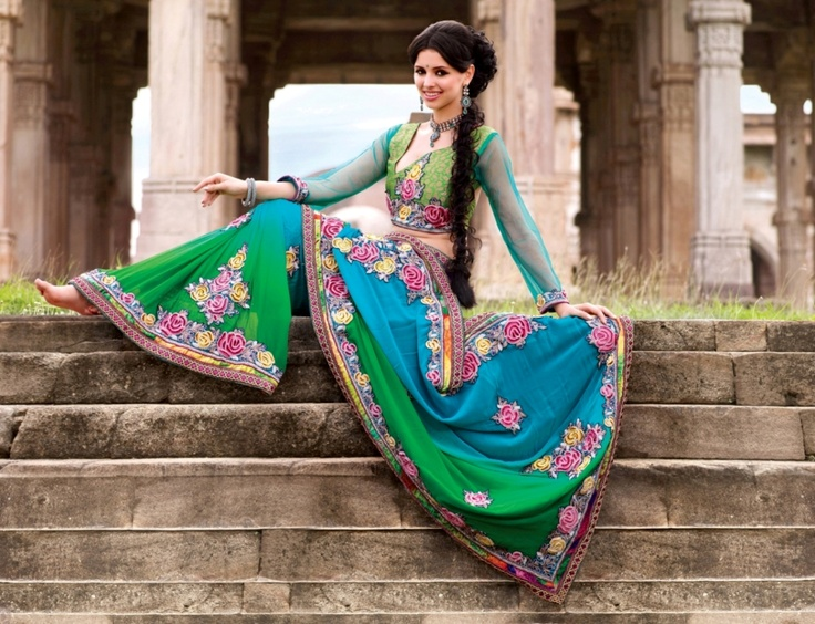 Rare colour combination of green and blue colour makes this saree totally refreshing.     For more details visit www.ashika.com