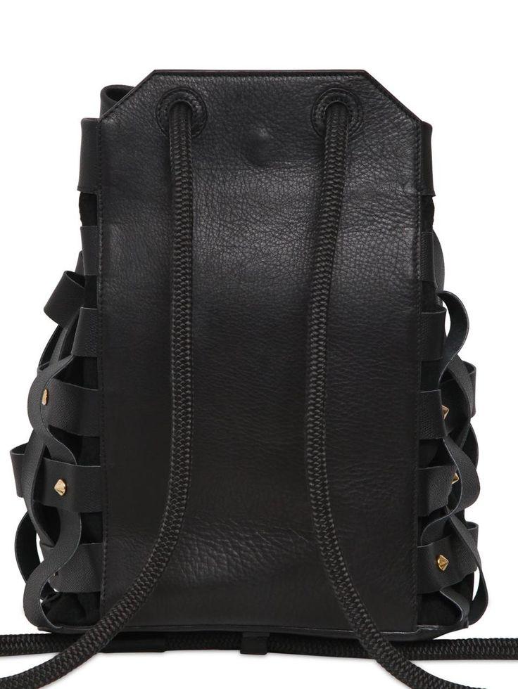Салар ДЖУЛС тканые кожаный рюкзак с шипами