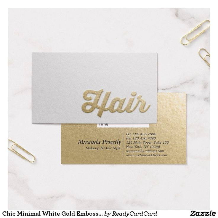 520 best business cards hair stylist images on pinterest hair chic minimal white gold embossed text hair stylist business card reheart Choice Image