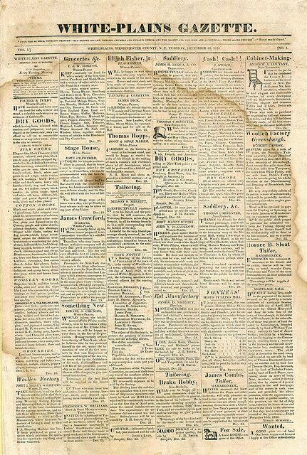 vintage newspaper with marks and stains (white-plains gazette)
