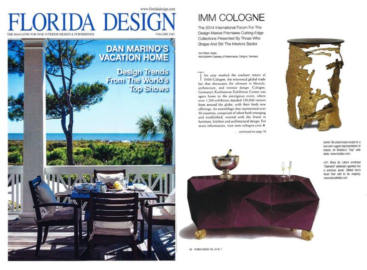 In Florida Design Magazine USA Along With Boca Do Lobo