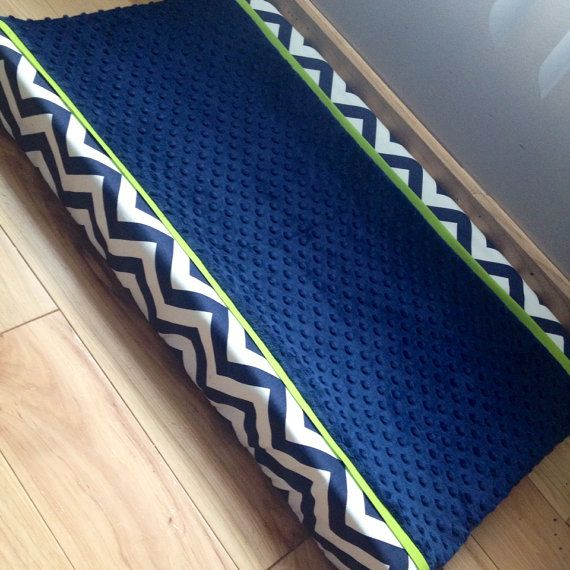 Navy chevron green trim navy minky dot changing pad cover