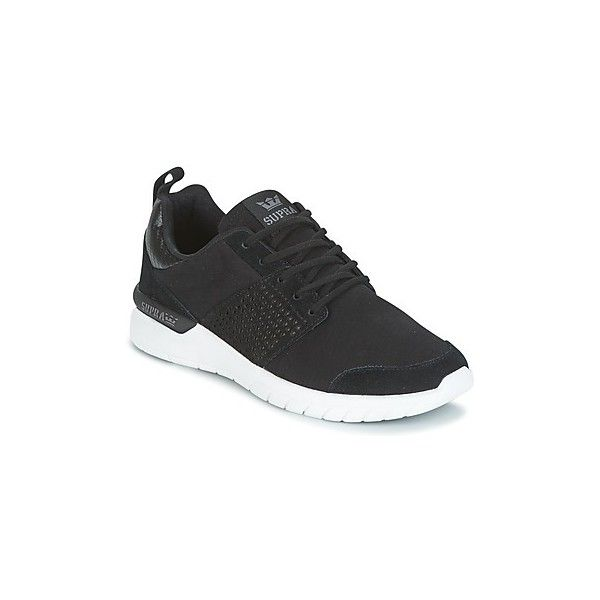 Supra SCISSOR Shoes (2,110 MXN) ❤ liked on Polyvore featuring shoes, sneakers, black, supra footwear, low profile sneakers, leather sneakers, black rubber sole shoes and supra trainers