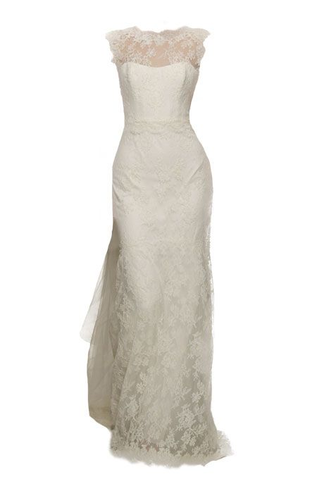 """Brides.com: Wedding Dresses for Petite Figures. """"Eve"""" french alençon lace wedding dress with bateau neckline, V-back and tulle watteau train, Christos Try on this dress in our Virtual Dressing Room."""