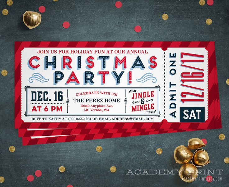 Christmas Party Ticket Invitation Printable by AcademyPrint