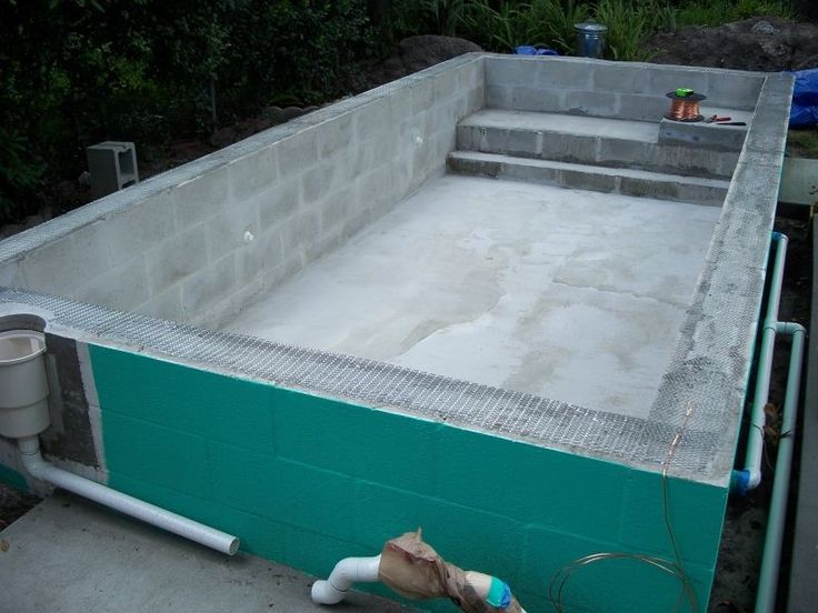 Concrete block puppy pool in progress many questions for Concrete swimming pool