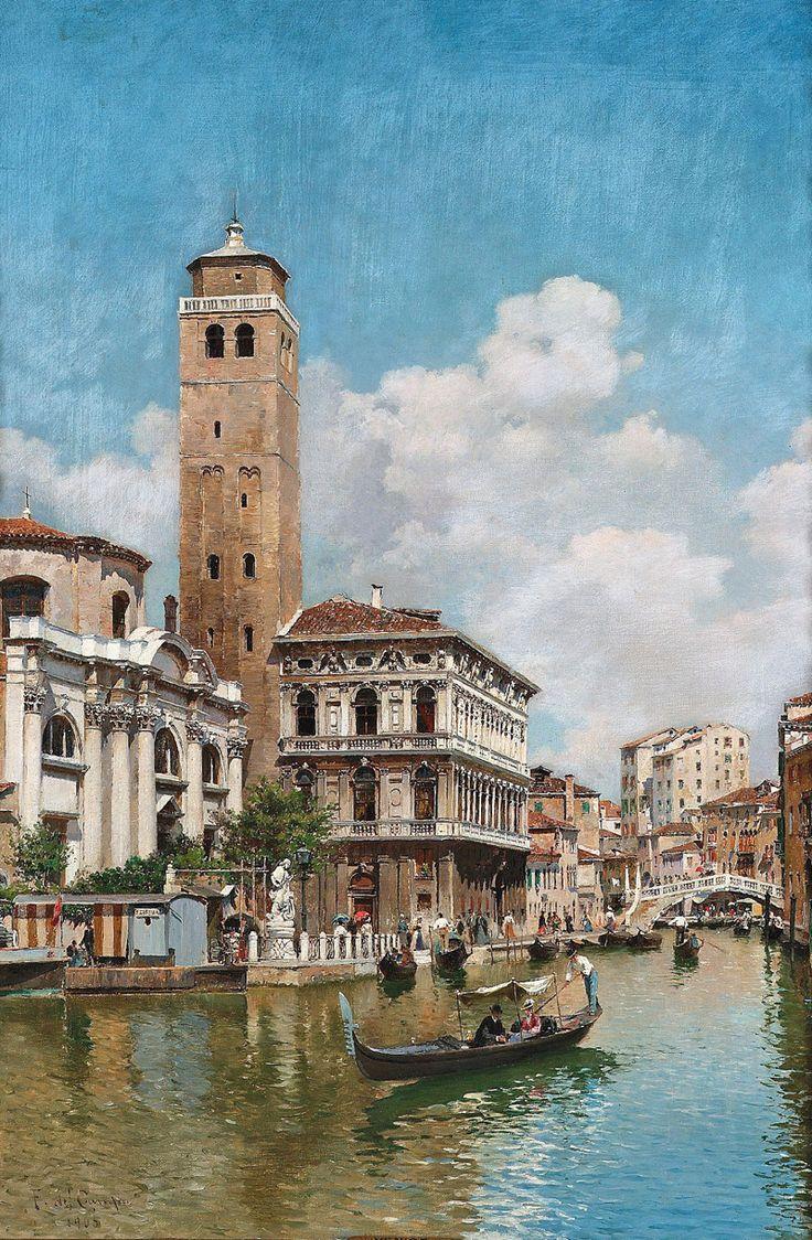 Federico del Campo – private collection. Gondolas on a Venetian Canal (1905)
