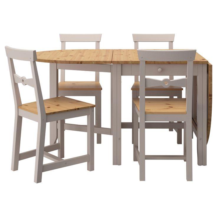 Gamleby table et 4 chaises teint clair l 39 ancienne gris for Table ancienne et chaises modernes