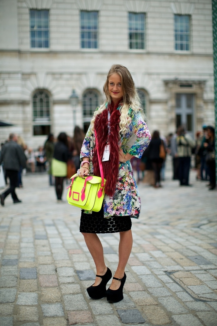 Spotted at LFW 2013 one of our Limited Edition Fluoro Pink and Yellow satchels