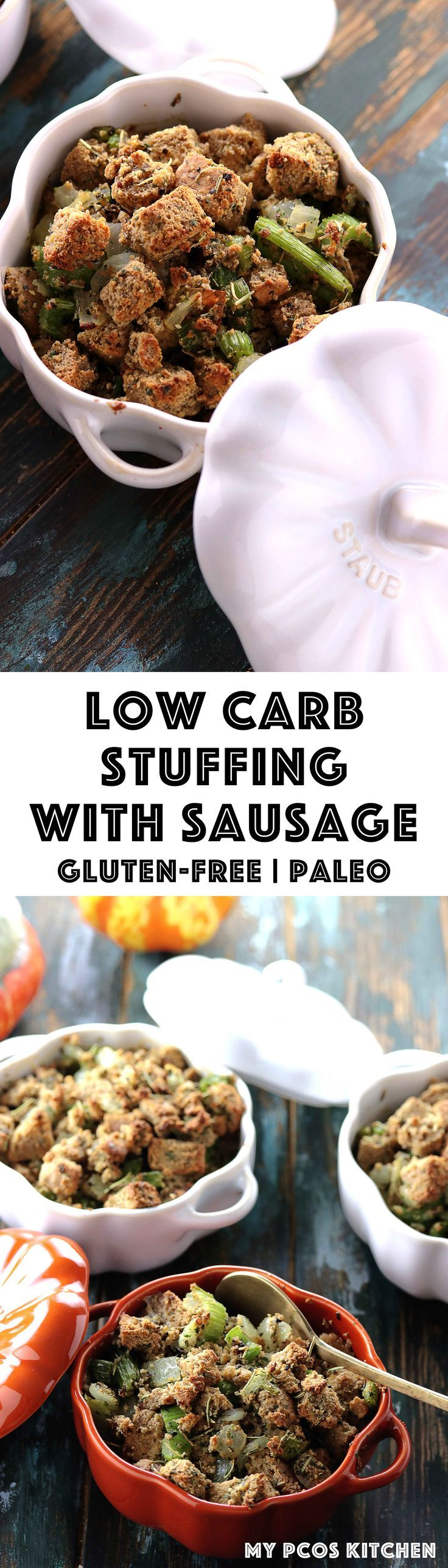 My PCOS Kitchen - Low Carb Stuffing with Paleo Bread & Sausage - An easy gluten-free and grain-free stuffing made with an almond bread. #glutenfree #paleo #lowcarb #thanksgiving via @mypcoskitchen