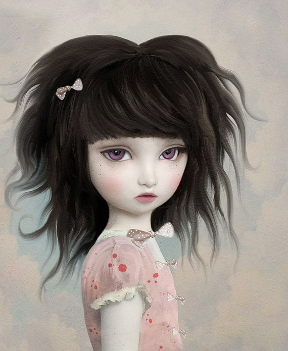 cute art hair art big eye art fairytale art by artandghostsprints